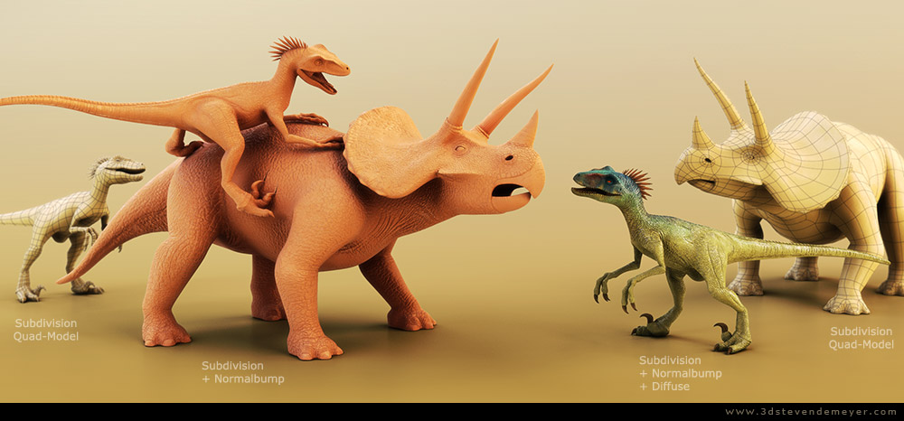 Freework - View more - Raptor and Triceratops - SubD - Rigged - Animated